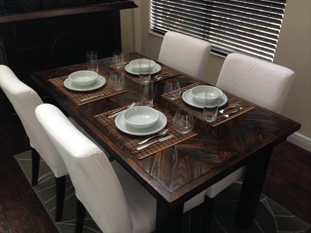 dark stained pallet dining table