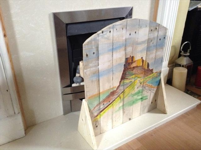 Pallet Fireplace Screen with Painted Lindisfarne Castle
