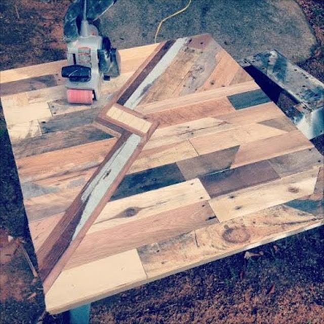 wooden pallet kitchen table with lightning bolt