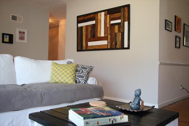 upcycled pallet living room wall art