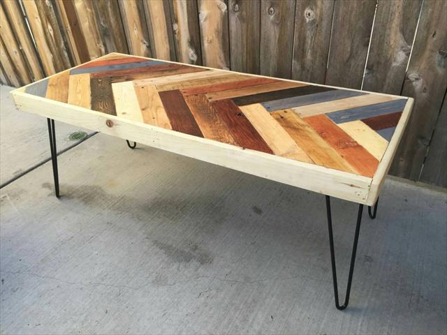 Chevron Pallet Coffee Table colorful pallet chevron pattern coffee table | pallet furniture plans