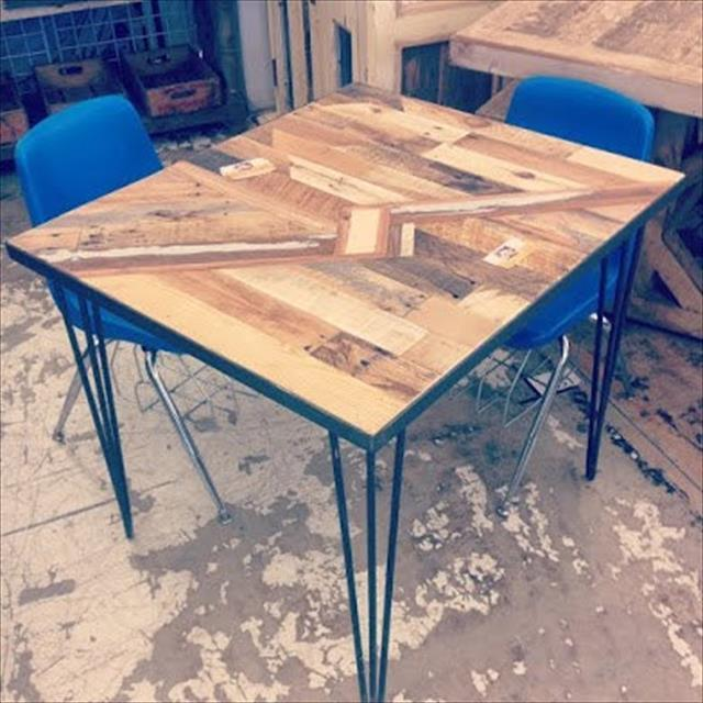 Recycled pallet kitchen table with lightning bolt