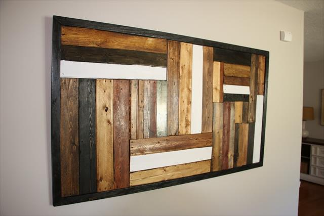 recycled pallet living room wall art