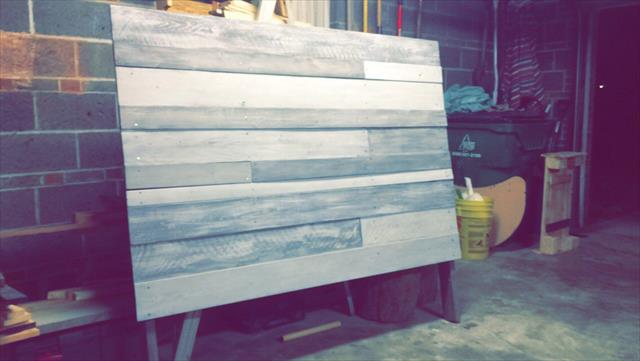 handmade wooden pallet white and grey headboard