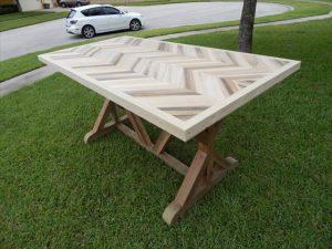 handmade pallet sturdy chevron dining table