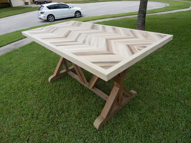 handmade pallet sturdy chevron dining table