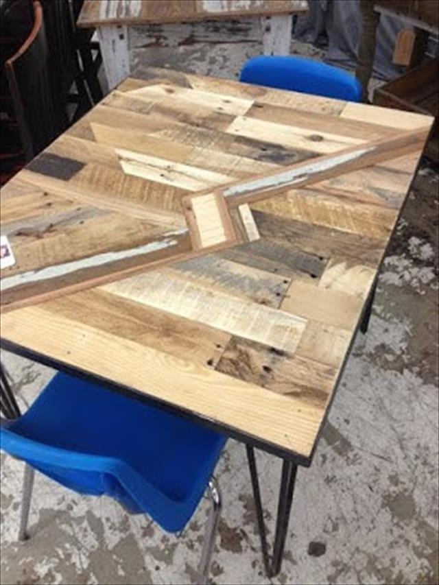 diy pallet kitchen table with lightning bolt