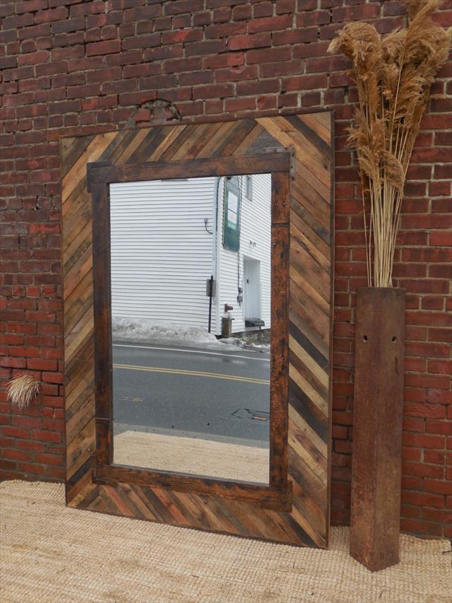 Wooden pallet mirror