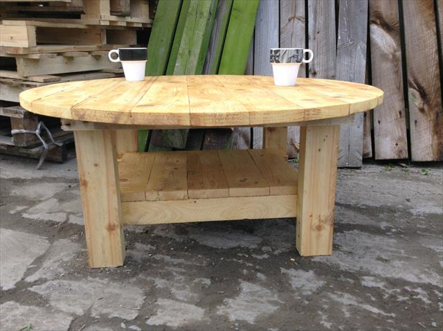 diy wooden pallet round top coffee table