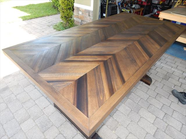 sturdy wooden pallet chevron dining table