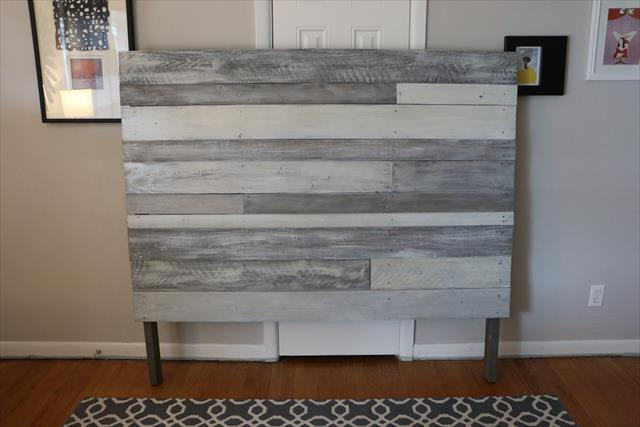 wooden pallet white and grey painted headboard