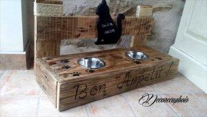 custom wooden pallet cat bowls