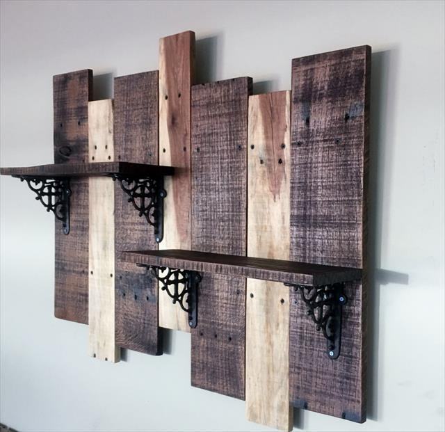 Recycled pallet wall display shelf