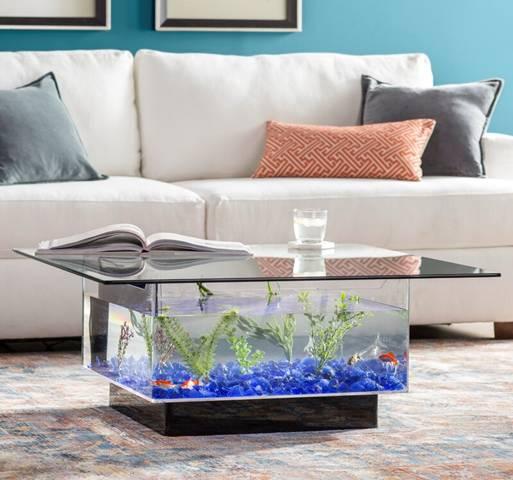 Coffee table that aquarium in it